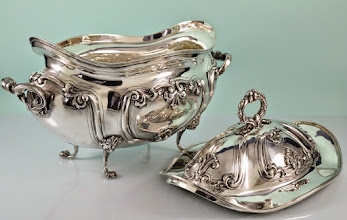 """Photo: Maker: Italy Ghisoni & Maldifassi  Item: Soup Tureen  Sterling Silver Details:   13"""" Long by 8"""" wide  Weight 61.45 Troy Ounces,  Outstanding Estate Condition.  Marked: Italy, 31MI (1948-1965 Milano), 925"""