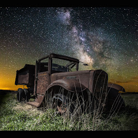International Milky Way by Aaron Groen - Transportation Other ( old, pickup, truck, homegroen photography, starscapes, international, south dakota, milky way stars, milky way, minnesota, sky, stars, night, rust, milky way and decay )