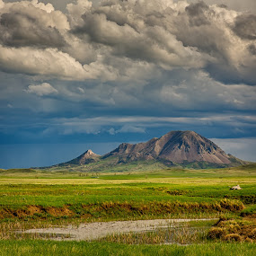 Bear Butte Storm Clouds by Kendra Perry Koski - Landscapes Mountains & Hills ( pennington county, green, storm, may, bear butte, monument, thunder, clouds, water, thunderclouds, meade county, spring, dakota winds photography, 2018, creek, blue, grass, sturgis, south dakota, black hills, thunderstorm, landmark, us, park,  )
