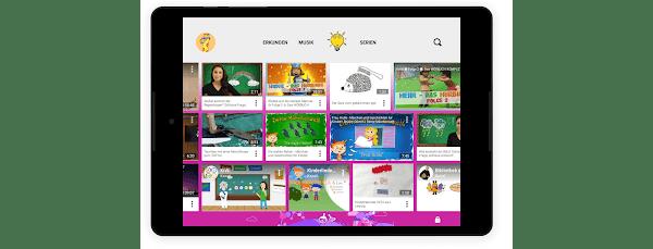"""Der Bereich """"Lernen"""" einer kinderfreundlichen Tablet-Seite einer kinderfreundlichen Tablet-Seite"""