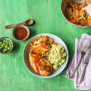Grilled Buffalo Chicken With Carrot-Celery Slaw and Mashed Taters.