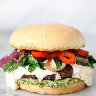 Portobello Mushroom Burger with Avocado Chimichurri.