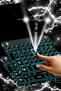 Neon Blue Keyboard Témata - náhled