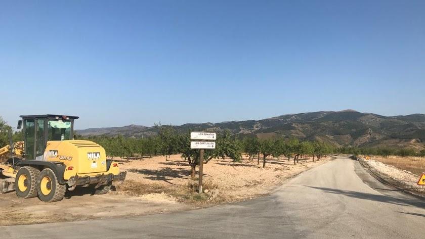 Obras en la vía dentro del término municipal de Serón.