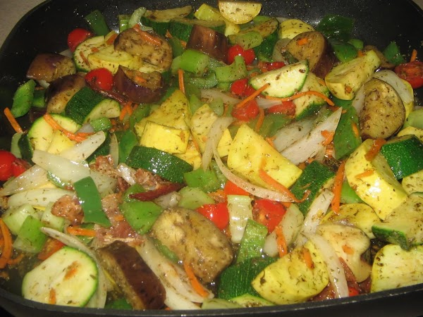 Heat bacon dripping and olive oil in large  skillet add the vegetables cut...