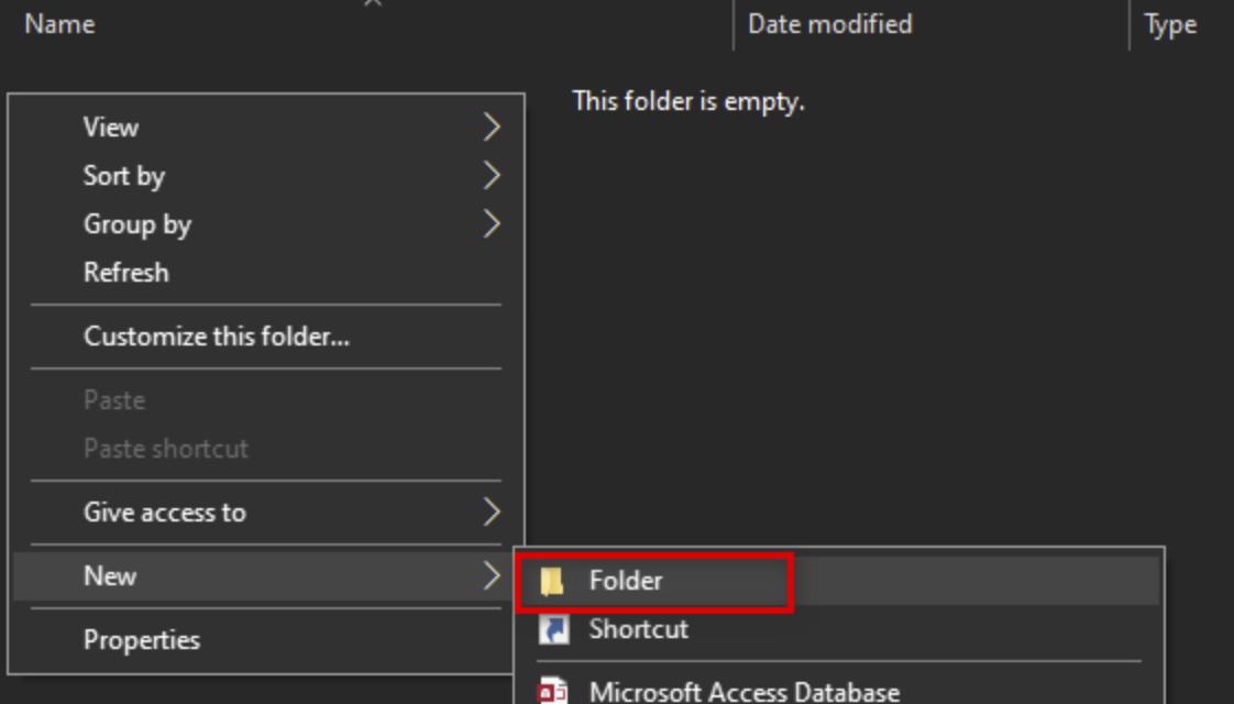 Create new sub folder