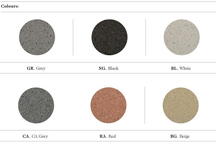 De mogelijke kleuren voor de Longo zitbanken uit de collectie van Escofet 1886