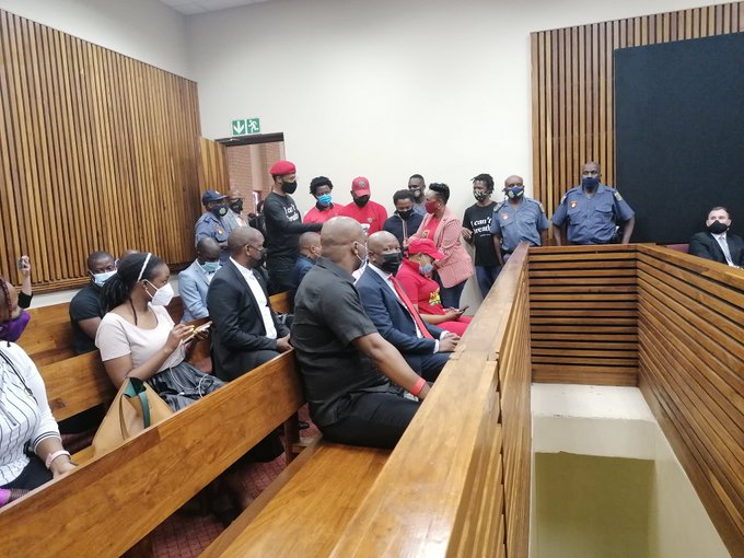 Julius Malema and EFF supporters at the Randburg magistrate's court.