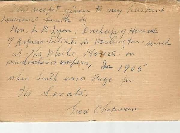 Original Note On Back Of Recipe.