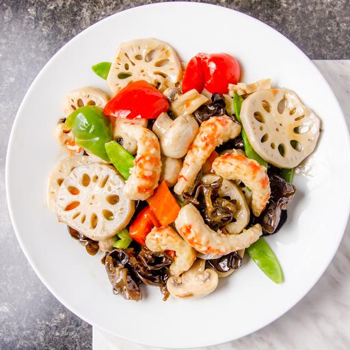 Stir-Fried Veggie Shrimp With Lotus Root & Vegetable