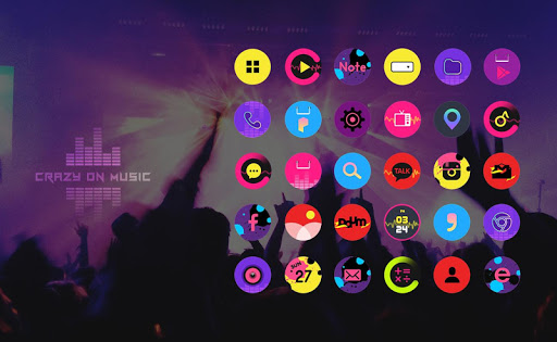 Crazy on music launcher theme