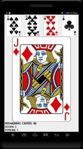 高 - 低家族のカードゲーム。次のカードを推測