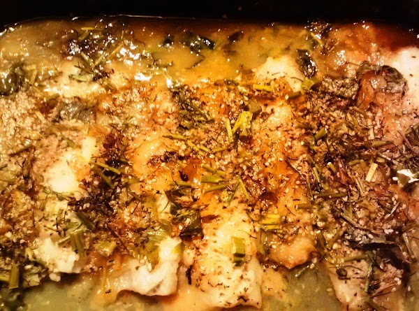 Cover very tightly with tin foil. Bake at 325F until fish is white and...