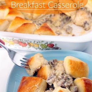 Biscuits and Gravy Breakfast Casserole.