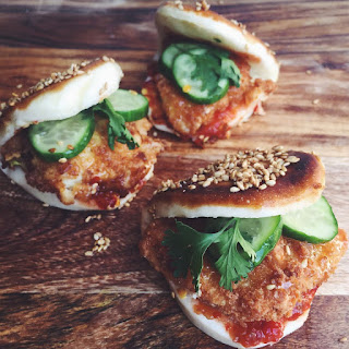 Spicy Fried Chicken Katsu Toasted Sesame Steamed Buns Recipe