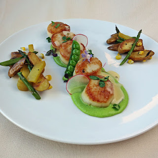 Seared Scallops with Pea Puree.