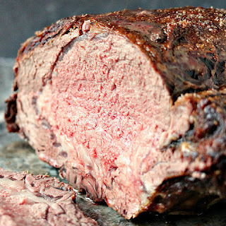 Prime Rib Roast with Red Wine Au Jus.