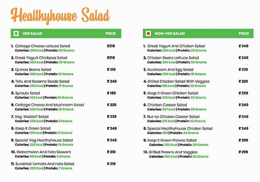 Healthy House menu 1