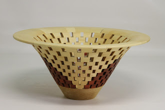 "Photo: Bob Grudburg 4 3/8"" x 7 3/4""  open segmented bowl [satin wood, red heart]"