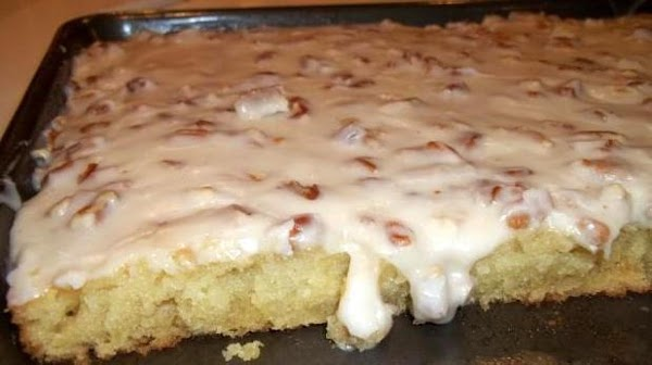 White Sheet Cake W/ Pecan Glaze Recipe