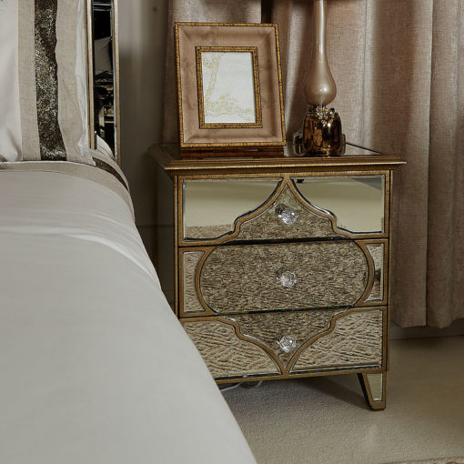 Moroccan Gold Mirrored Nightstand