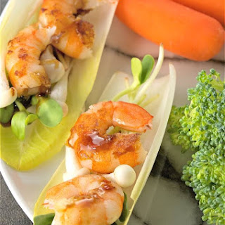 Easy Healthy Spicy Sweet Shrimp in Endive Cups.