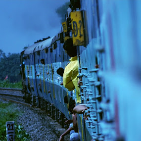 To The Destination by Rupam Chakraborty - Transportation Trains ( candid, vehicles, transportation, people, trains,  )