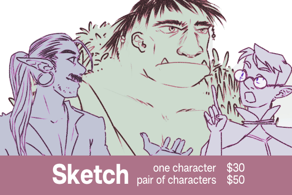 sketch one character $30, pair of characters $50