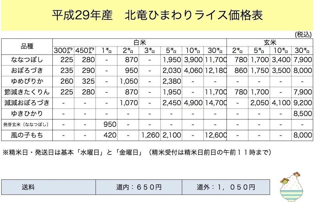 北竜ひまわりライス価格表