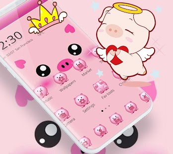 Pink Cute Piggy Cartoon Theme - náhled