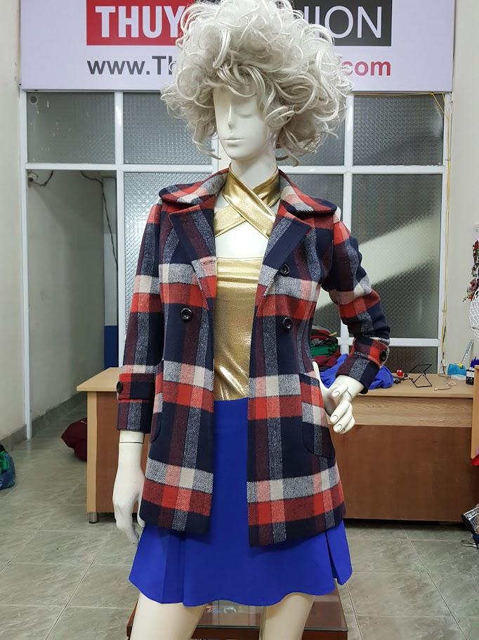 Áo khoác dạ nữ hai túi họa tiết kẻ ô vuông 3 màu V487 Thời Trang Thủy