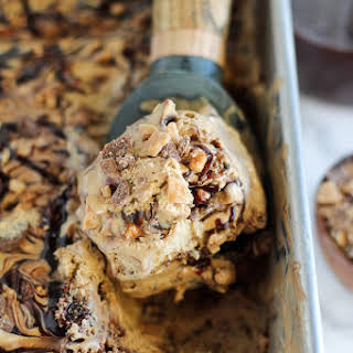 No Churn Coffee Toffee Fudge Swirl Ice Cream.