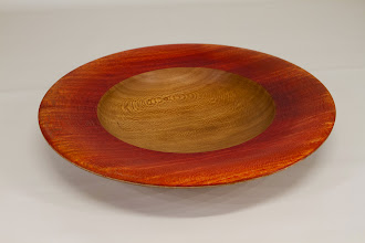"Photo: Jeff Tate 10"" x 1 1/4"" platter [Sycamore, dye] from Jimmy Clewes Workshop"