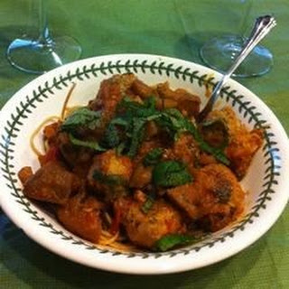 Little Lamb Meatballs in a Spicy Eggplant Tomato Sauce.
