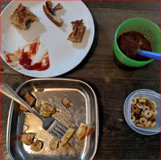 Leftovers from the kids' dinner