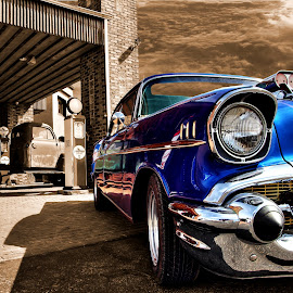 Born to Run by JEFFREY LORBER - Transportation Automobiles ( rust 'n chrome, muscle car, chevrolet, blue car, classic car, gas station, lorberphoto )