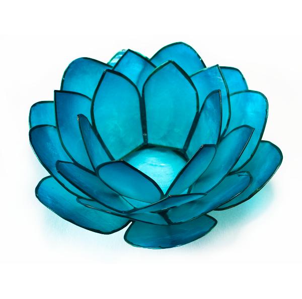 Ljuslykta, turkos lotusblomma