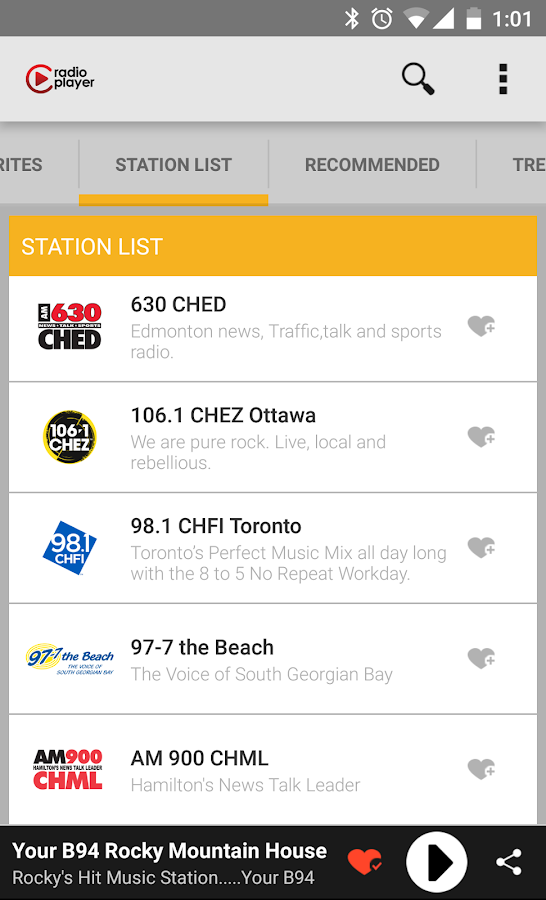 Radioplayer Canada- screenshot