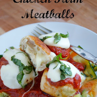 Chicken Parm Meatballs stuffed with Mozzarella