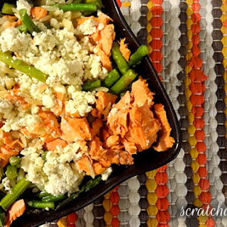 Salmon, Asparagus, and Orzo Salad Recipe with Crumbled Lemon-Dill Feta.