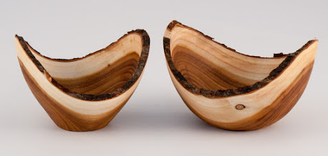 "Photo: Tim Aley - a pair of 3"" x 2"" natural-edged bowls [redbud]"