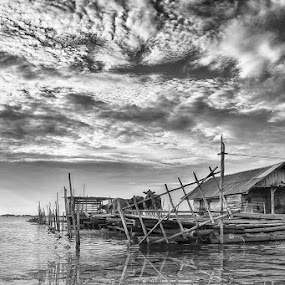 Home on the water by Muslim Hanafi - Black & White Landscapes