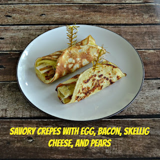 Savory Crepes with Egg, Cheese, Pears, and Bacon.