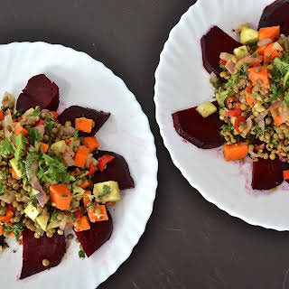 WARM LENTIL SALAD WITH ROASTED BEETS.