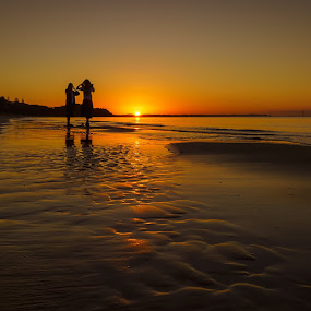 Sunset Watching by Keith Walmsley - Landscapes Sunsets & Sunrises ( waves, sunset, landscape, shadows, coast, golden hour )