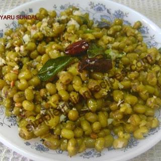 (Pachai Payaru Chundal, Green Gram Salad, Mung Beans Salad, Moong Dal Sundal)