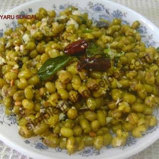 (Pachai Payaru Chundal, Green Gram Salad, Mung Beans Salad, Moong Dal Sundal).