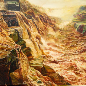 Hwang He (The Yellow River) by Kwek Cheng Hau - Painting All Painting ( hwang he, landscape, oil painting, river, china )