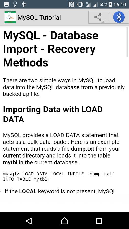 MySQL Tutorial- screenshot