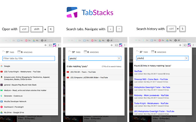 Tab Stacks: tab menu and history search